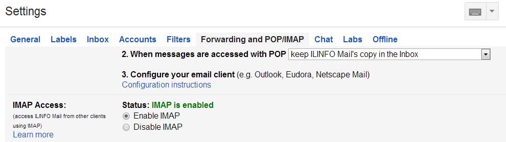 Imap Profile in Google Apps
