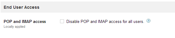 Pop and imap are disabled in Google