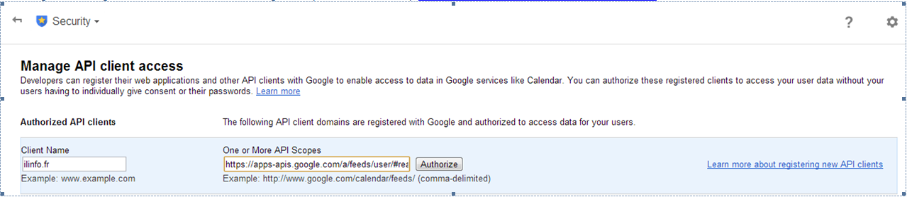 Feed permissions in Google Apps
