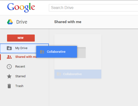 Google Drive Drag and drop