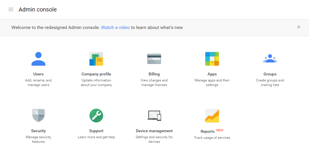 Google Apps Administration Console