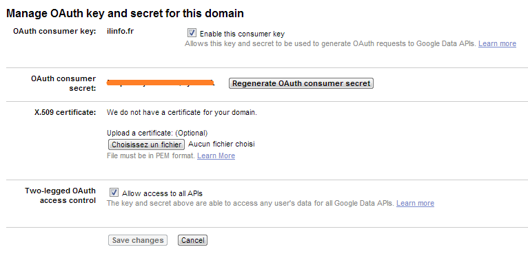 Google Oauth Consumerkey and secret