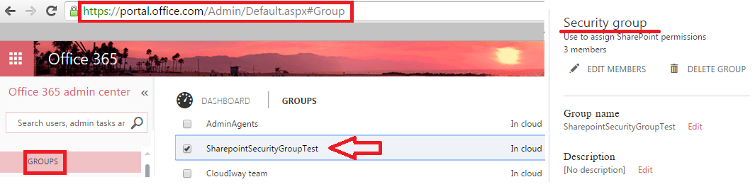 Are there any Security Groups provisionned in Office 365