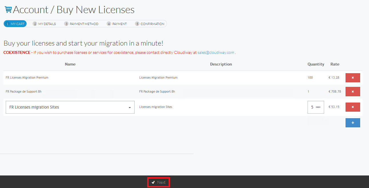 How to purchase licenses in Cloudiway Platform