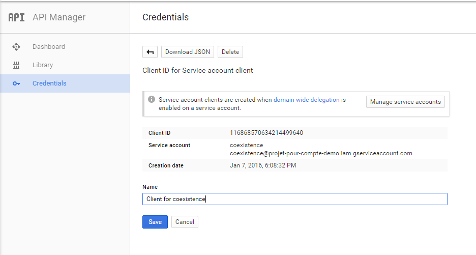 Google Service Account details