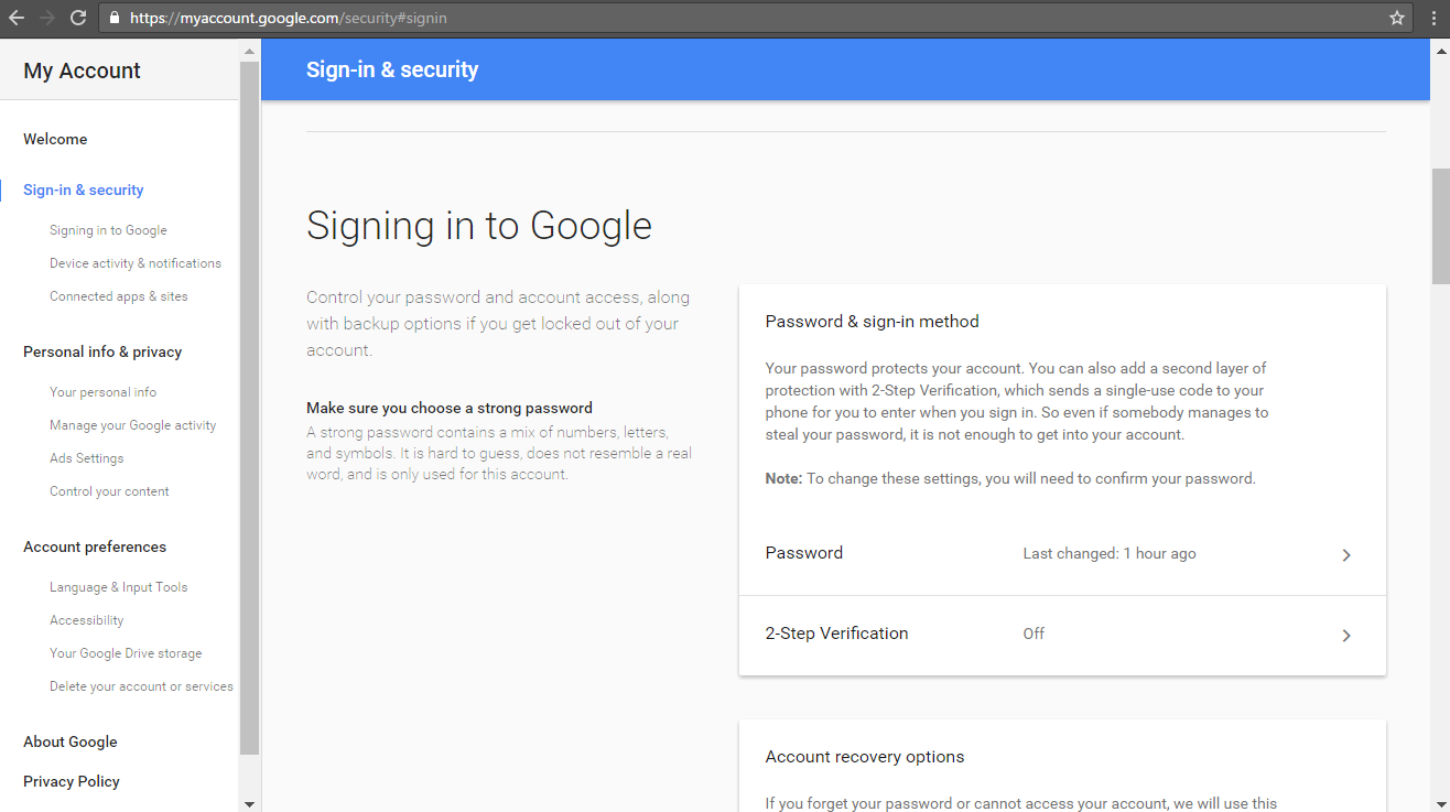2-step authentication during Google site migration
