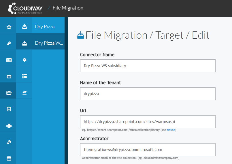 Cloudiway connector setup for flexible migration from G Suite to SharePoint