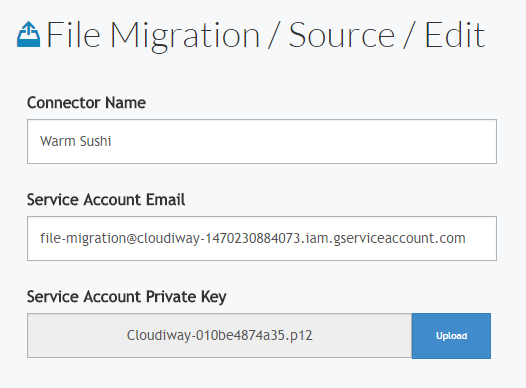 Cloudiway's Google Drive migration platform - source connector