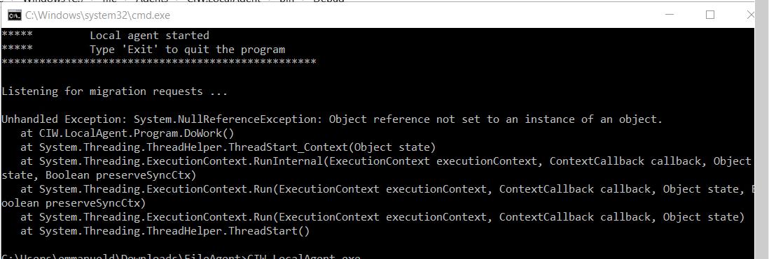 Cloudiway File Local Agent Error