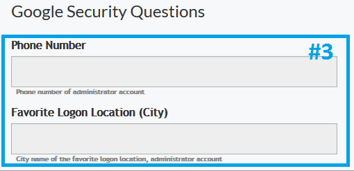 Google site Security Questions