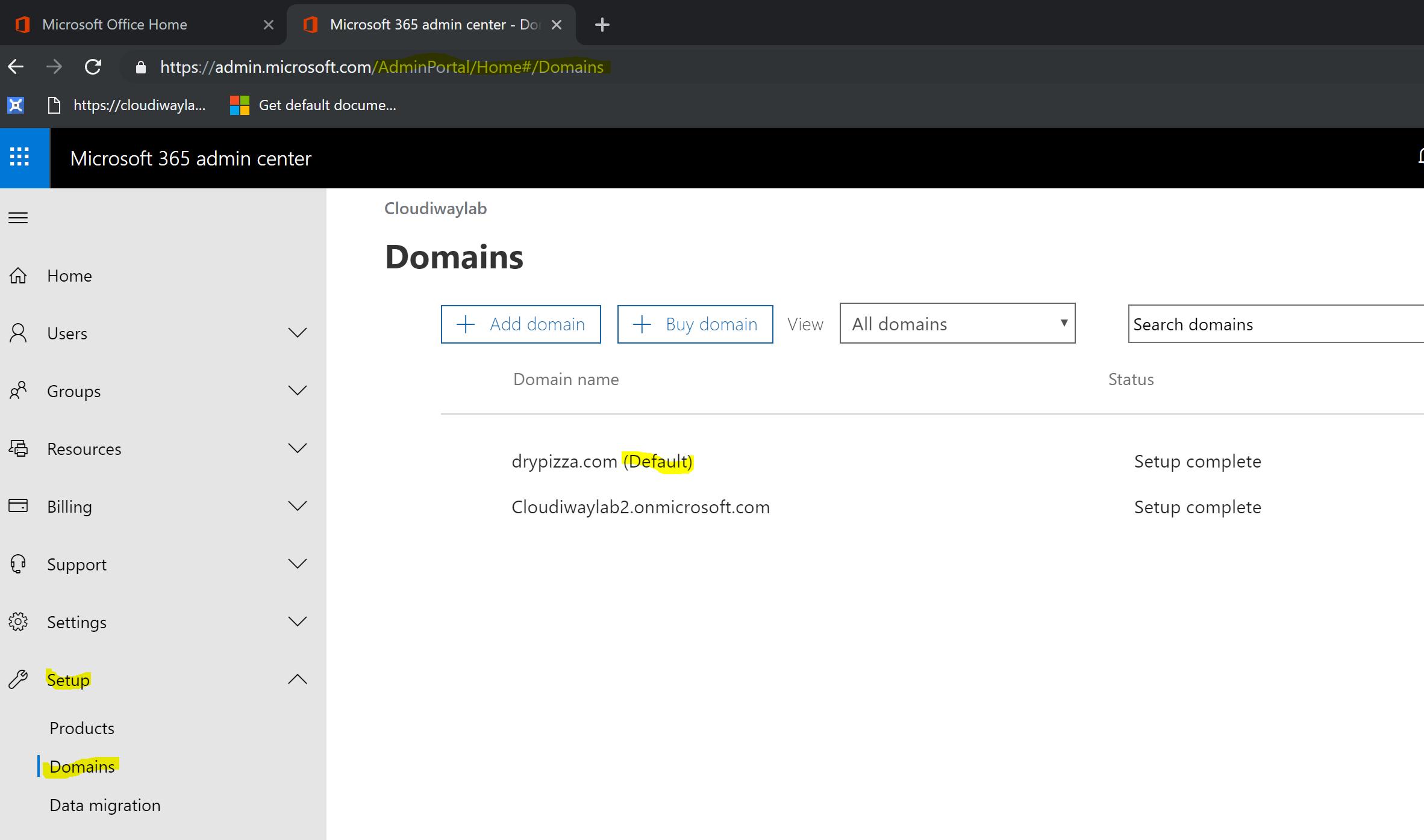 Default Office 365 Domain